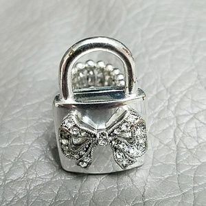 Betsy Johnson Silver Ribbon Stretch Ring